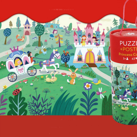 """Puzzle 63 piese """"Castelul prințesei"""" în cutie cilindrică2"""