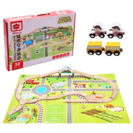 Set trenulet cu cale ferata-blocuri de construcție-scenă de trafic urban feroviar-80 piese0