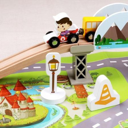 Set trenulet cu cale ferata-blocuri de construcție-scenă de trafic urban feroviar-80 piese3