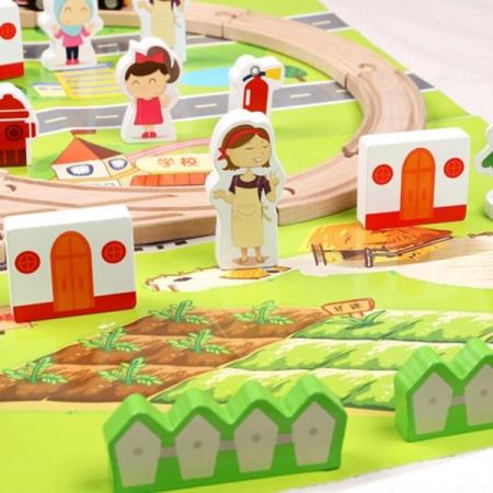 Set trenulet cu cale ferata-blocuri de construcție-scenă de trafic urban feroviar-80 piese1