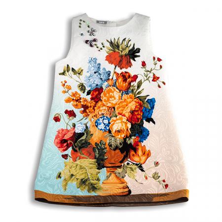 Rochie din brocart cu flori4