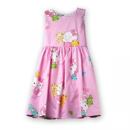 Rochie roz cu pisicute si ursuleti4