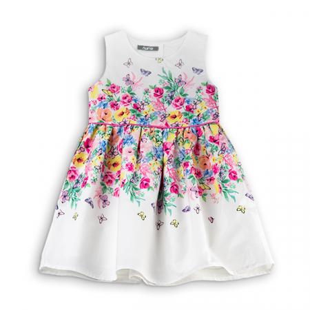 Rochie alba din bumbac cu flori si fluturi0