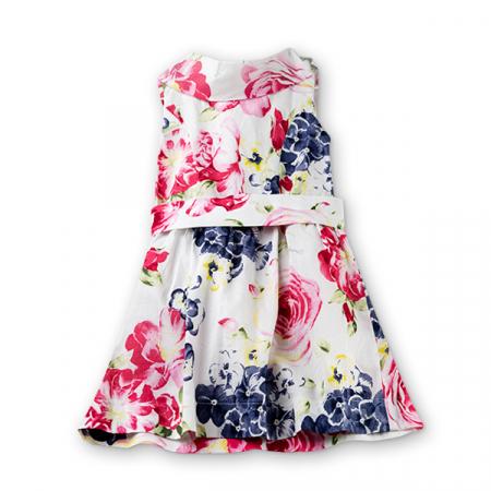 Rochie alba din bumbac cu flori0