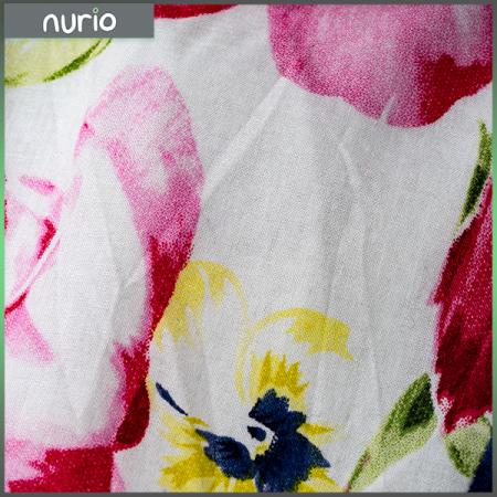 Rochie alba din bumbac cu flori2