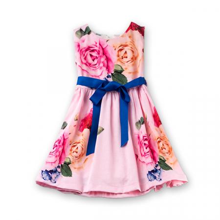 Rochie roz cu trandafiri0