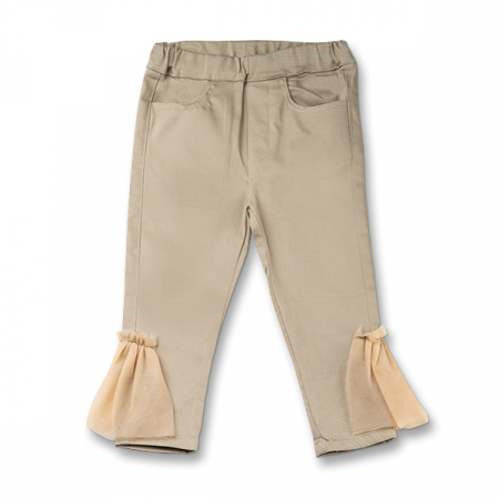Pantaloni fete bej cu tulle [0]