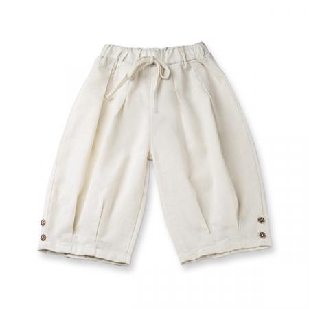 Pantaloni albi de in cu cute si nasturi0