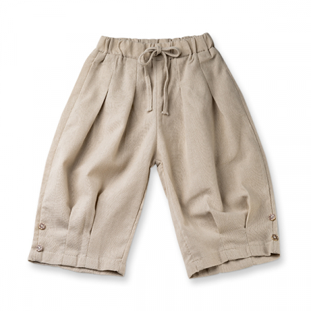 Pantaloni bej de in cu cute si nasturi0