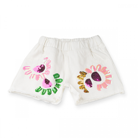Pantaloni scurti de blugi albi cu paiete0