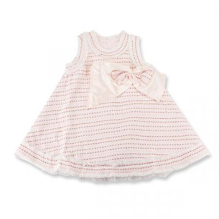 Rochie eleganta cu carouri roz si maro cu funda0