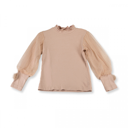 Bluza eleganta bej cu tulle3