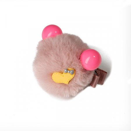 Agrafa par roz pudra tip ursulet din blanita cu inimioara0
