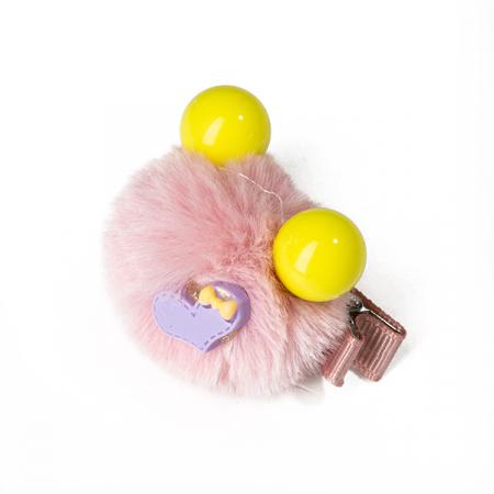 Agrafa par roz pudra tip ursulet din blanita cu inimioara2
