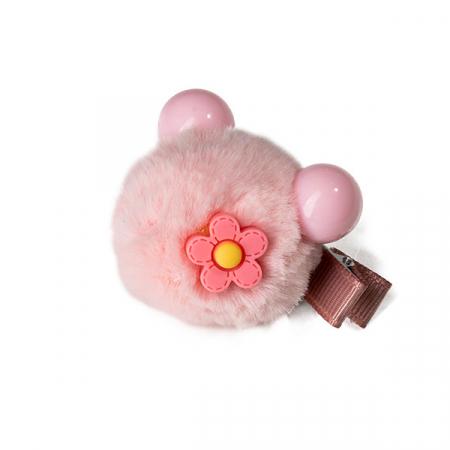 Agrafa par roz tip ursulet din blanita cu floare1