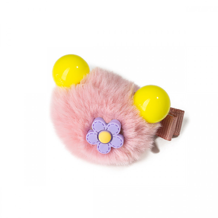 Agrafa par roz tip ursulet din blanita cu floare2