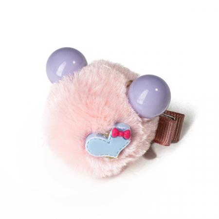 Agrafa par roz tip ursulet din blanita cu inimioara0
