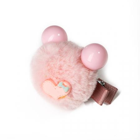 Agrafa par roz tip ursulet din blanita cu inimioara2