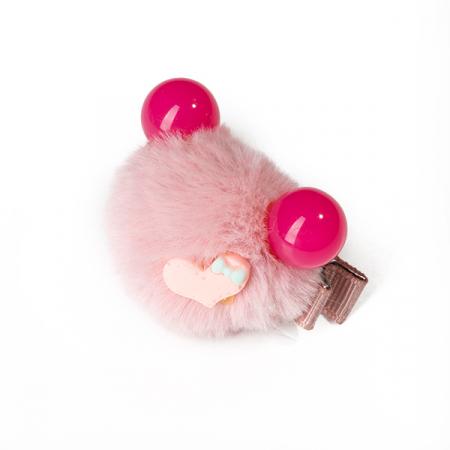 Agrafa par roz tip ursulet din blanita cu inimioara1