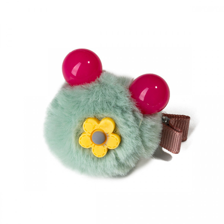 Agrafa par verde menta tip ursulet din blanita cu floare0