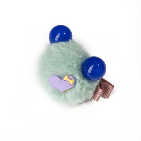 Agrafa verde menta tip ursulet din blanita cu inimioara0