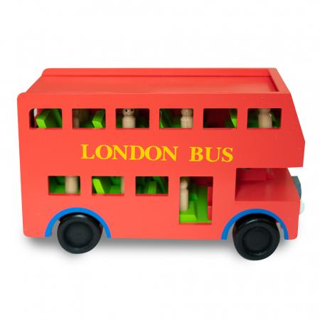 Jucarie tip autobuz din lemn supraetajat0