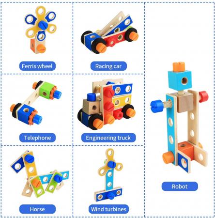 Banc de lucru multifunctional cu 89 piese din lemn [4]