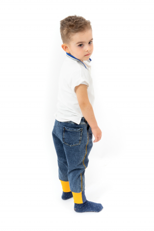 Blugi pentru baieti cu dungi galbene si manseta elastica4