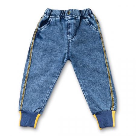 Blugi pentru baieti cu dungi galbene si manseta elastica [6]