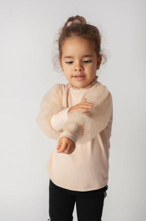 Bluza eleganta bej cu tulle [1]