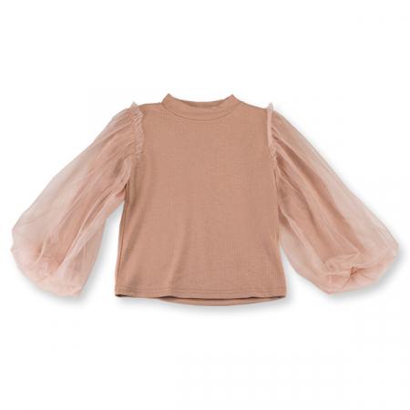 Bluza eleganta maro cafeniu cu tulle5