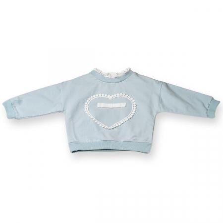 Bluza fete cu inimioara si fundita,culoare albastru0