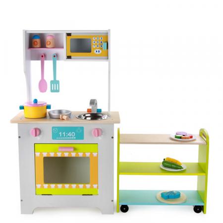 Bucătărie 2 în 1 din lemn combinată pentru copii0