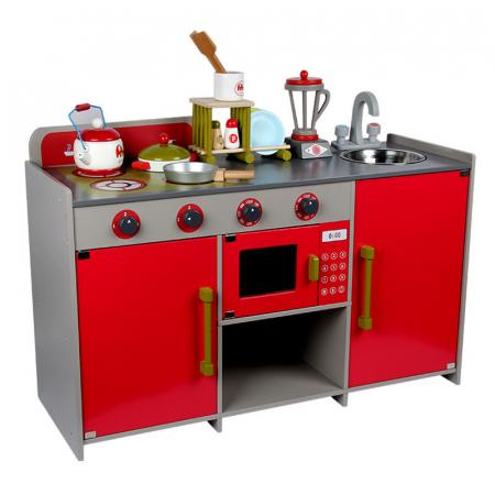 Bucătărie din lemn în  stil european cu accesorii incluse pentru copii2