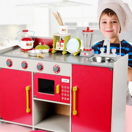 Bucătărie din lemn în  stil european cu accesorii incluse pentru copii1