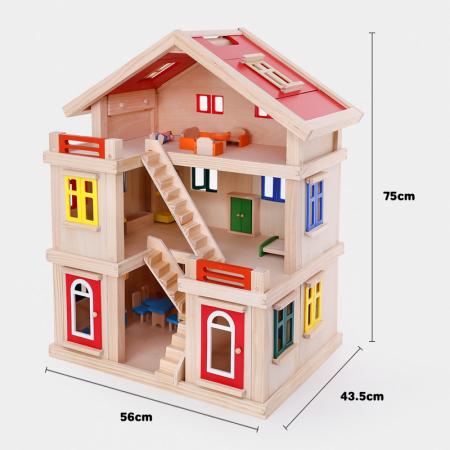 Căsuță de păpuși  realizată manual cu trei nivele cu mobilier și jucării educative din lemn pentru fete4