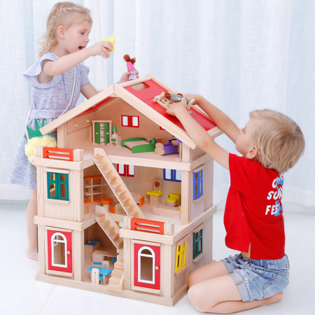 Căsuță de păpuși  realizată manual cu trei nivele cu mobilier și jucării educative din lemn pentru fete1