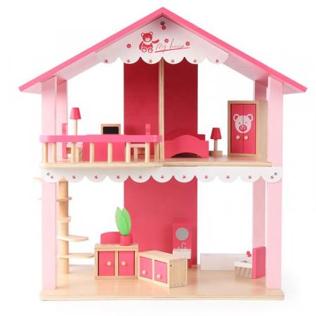 Căsuță de păpuși roz realizată manual cu mobilier și jucării educative din lemn pentru fete0