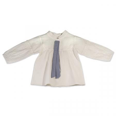 Camasa alba fete cu panglica in dungi [0]