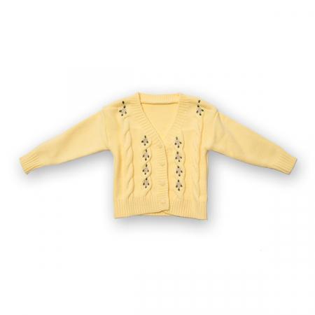 Cardigan din tricot cu broderie0