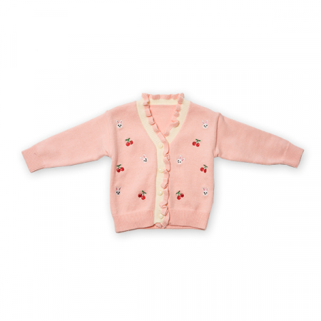 Cardigan din tricot cu volanase si broderie [0]