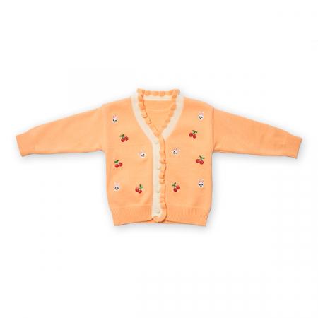 Cardigan din tricot cu volanase si broderie0