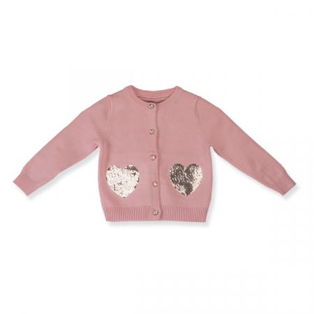 Cardigan roz cu  paiete argintii0