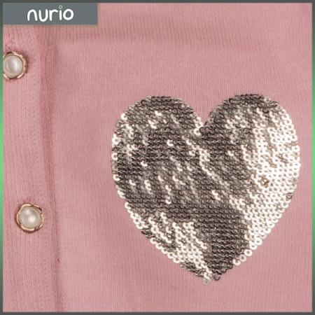 Cardigan roz cu  paiete argintii1
