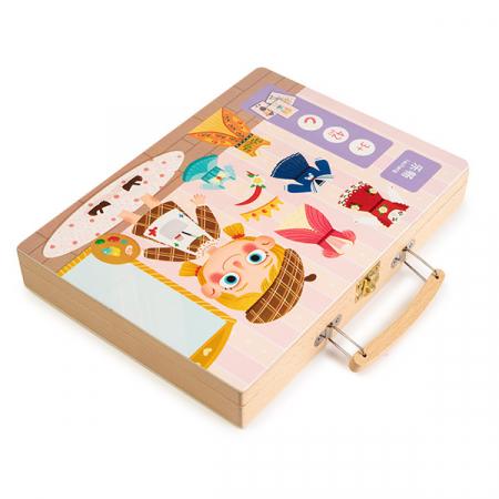 Gentuta din lemn cu carduri si puzzle magnetic - tinute vestimentare1