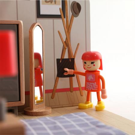 Mini casuta de papusi din lemn - dormitor2