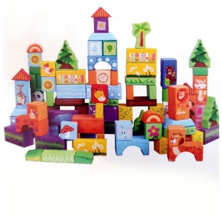 Cuburi construcție din lemn cu animăluțe - 100 piese0