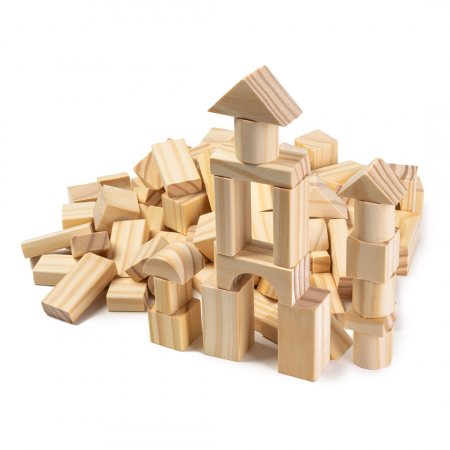 Cuburi construcție din lemn - 100 piese [0]