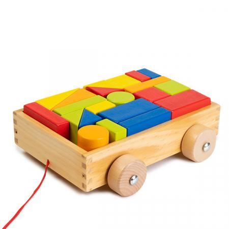 Cuburi construcție din lemn in cutie - 21 piese - jucarie de tras1