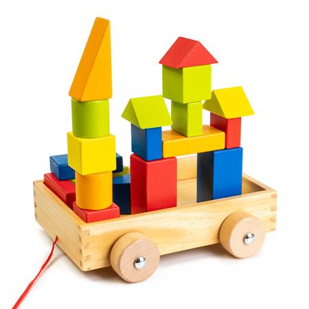Cuburi construcție din lemn in cutie - 21 piese - jucarie de tras0